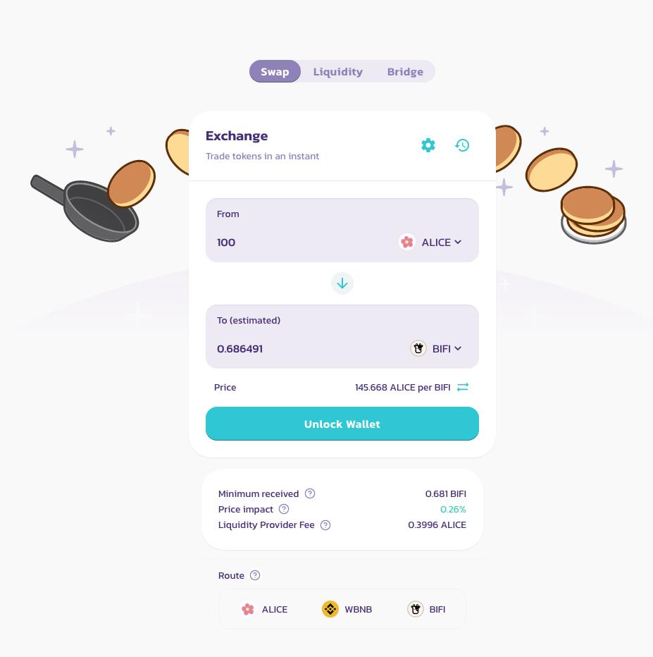 интерфейс торговли в pancakeswap